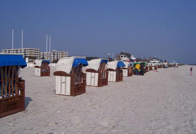 Der 8 km lange Strand von Grömitz, in unmittelbarer Nähe zur Ferienwohnung Grömitz